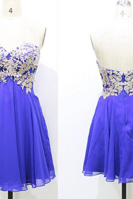 Custom Made Lace Appliques Christmas Party Dresses ,Royal Blue Lace Appliques Chiffon Homecoming Dresses,A-Line Graduation Dresses,Homecoming Dresses,Short/Mini Homecoming Dress,