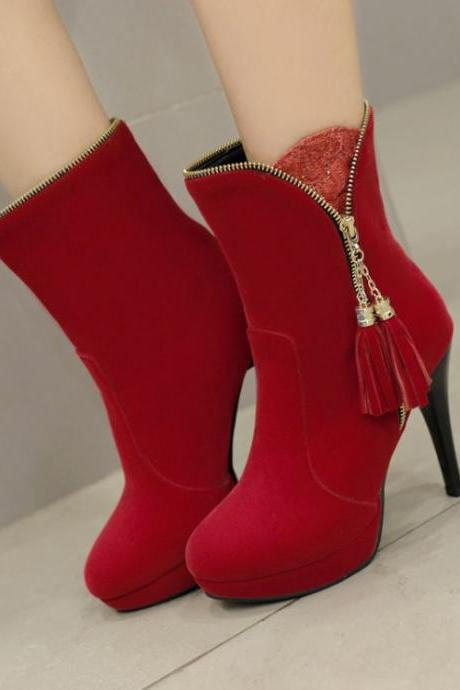 Women's Pure Color High Heel Thin Heel With Side Zippers Tassel Short Martin Boots