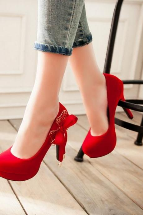 Women's Pure Color High Heel Thin Heel Bowknot Pumps