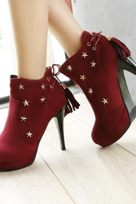 Star-Embellished Platform Stiletto Ankle Boots with Tassel Detailing