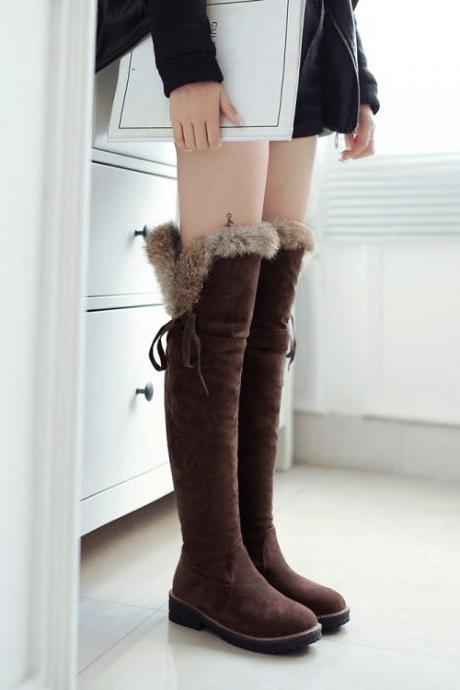 Women's Pure Color Flat Heel Suede Wool Lace Long Boots