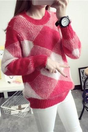 Women's Korean Fashion Autumn Winter Fashion Christmas Gift Round Neck Geometric Pattern Loose Casual Knitted Pullover Sweater One Size