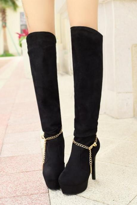 Women's Pure Color High Heel Thin Heel Metal Chain Long Knight Boots