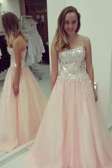 Pd10136 High Quality Prom Dress,A-Line Prom Dress,Chiffon Prom Dress,Strapless Prom Dress, Sequined Prom Dress