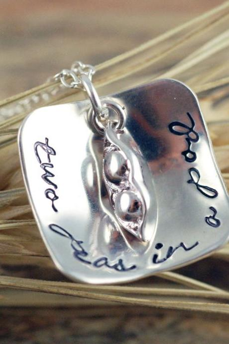 Two Peas In A Pod - Personalized Hand Stamped Necklace - Charm Necklace - Friends - Sister - Necklace - Hand Stamped Custom Necklace