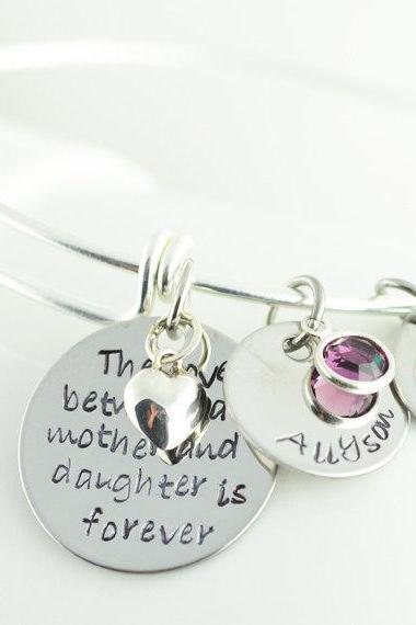 Silver Bangle Charm Bracelet, Personalized Bangle Bracelet, Mother/Daughter Bracelet, Alex and Ani Style, Name Bracelet