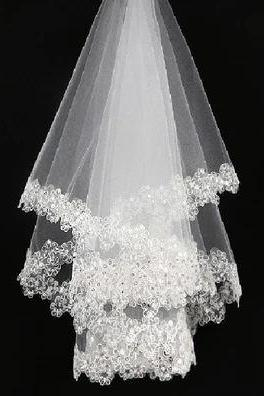 The bride veil bag mail 1.5 meters 3 meters white yarn tail sequins wedding dress accessories wholesale promotion new flowers