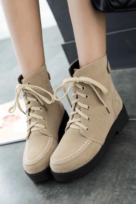 Women's Pure Color Low Heel Square Heel Suede Wool Crossed Lace Short Martin Boots