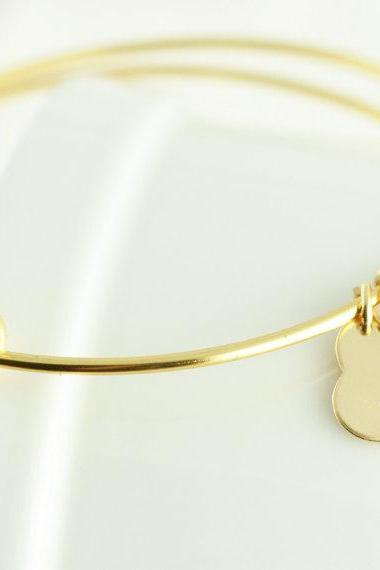 Personalized hand stamped Bangle Bracelet, gold charm bracelet, alex and ani inspired