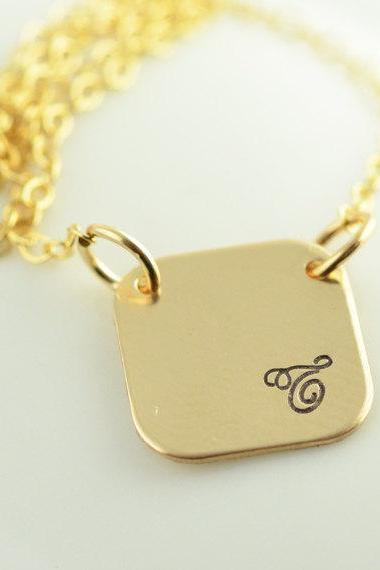 Personalized Hand Stamped necklace, square gold name necklace, mommy jewelry, gift for her
