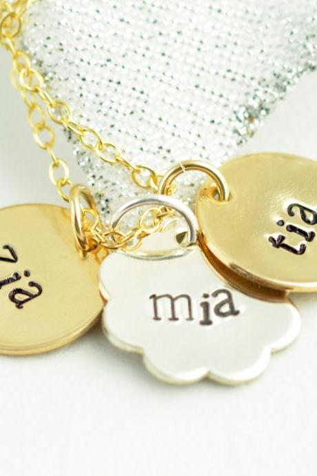 Mother necklace, Mixed metal name necklace, Personalized Hand Stamped necklace, Small disc necklace