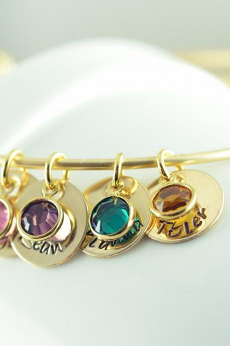 Personalized Bangle charm bracelet, name birthstone bracelet, Personalized hand stamped bracelet, womens jewelry
