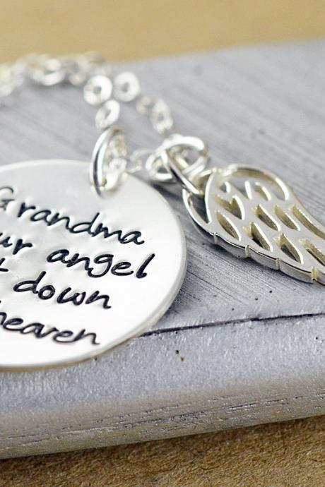 Personalized Hand Stamped Necklace, Angel Wing Necklace, Memorial Necklace, Bereavement Jewelry