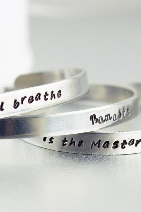 Hand Stamped Cuff, Personalized Bracelet, Friendship bracelet, two metal cuffs, name bracelet