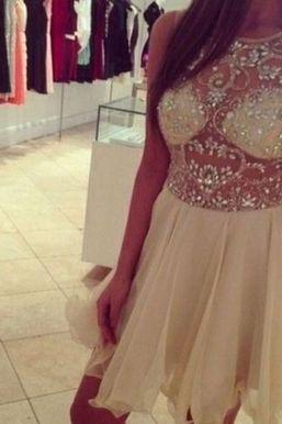 Sexy Light Champagne Beadings Short Custom Prom Dresses 2016, Homecoming Dresses, Cocktail Dresses