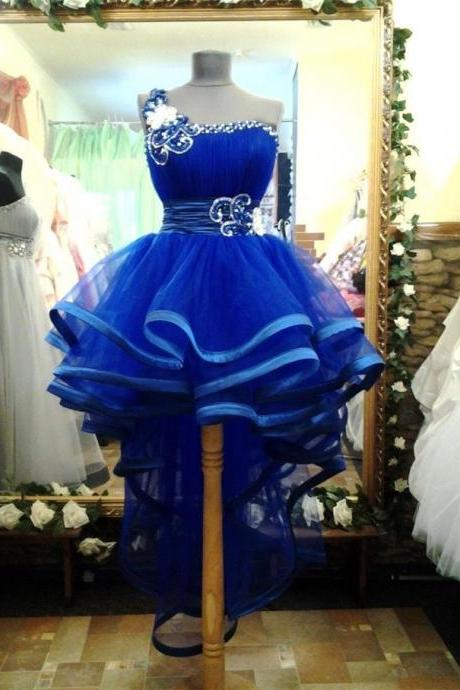2015 New Royal Blue Ball Gown High low Prom Gowns One Shoulder Sequins Beads Ribbons Short Cocktail Party Dresses