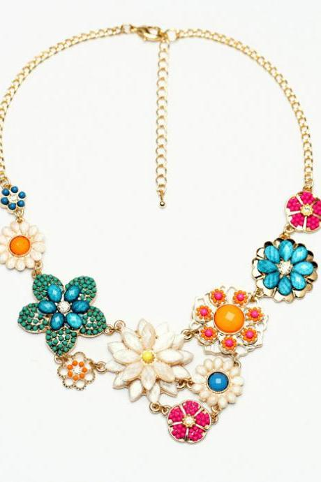 Colourful Florals for Spring Bead Handmade Necklace