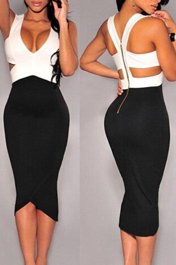 Hollow Out V Neck Black and White Bodycon Dress