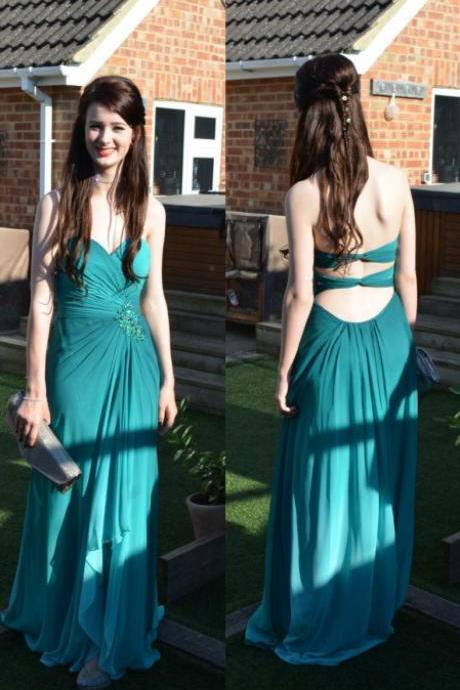Peacock green ombre chiffon sweetheart high low skirt long prom dresses ,A line open back custom made colorized ombre evening dress prom,green gradient formal women dress,backless graduation dress,bridesmaid dress