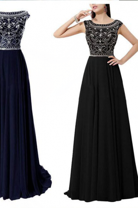 Top Sellings A Line Cap Sleeves Navy Blue Chiffon Long Prom Dress, Beaded Crystal Bodice Black Evening Dresses Prom,Custom Made Prom Gown