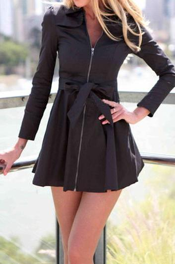 Casual Zipper Closure Black Belted Skater Dress