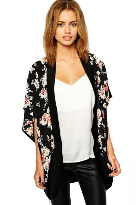*Free Shipping* JECKSION Kimono Cardigan Women 2015 Fashion Floral Printed Splice Chiffon Shawl Tops Cover up For Ladies Women Blouse Black 32435500979