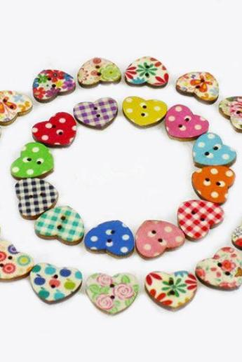 100 Multicolor Buttons Heart Shape Wood Sewing Buttons Scrapbooking