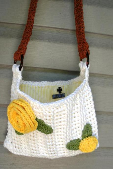 Summer Blooms, crochet white cotton shoulder purse with rose detail and flannel lining, ready to ship.