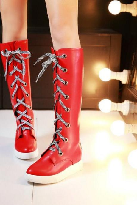 Women's Pure Color Flat Heel Cloth Crossed Lace Long Boots