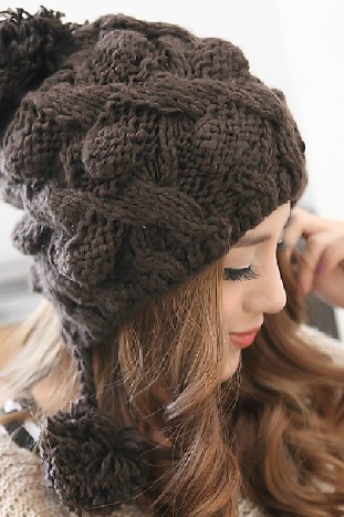 Slouchy Woman Handmade Knitted Hat Cap coffee