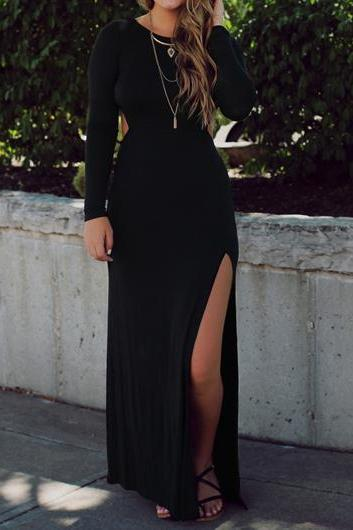 Sexy And Fashion Open Back Side Slit Maxi Dress