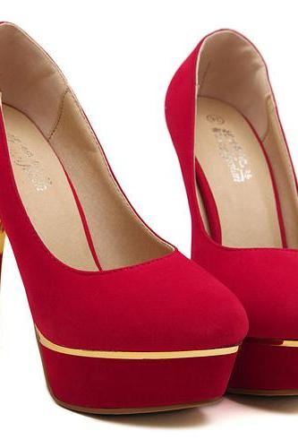 Red Suede Stiletto Heels Fashion Shoes