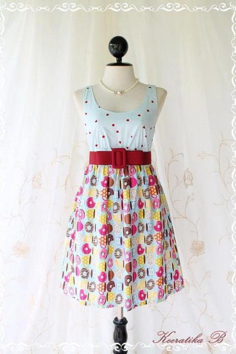 Floral Party ll - Adorable Sundress Blue Top With Petite Apple Heart Printed And Blue Skirt Playful Cutie Candy Donuts Print XS-S