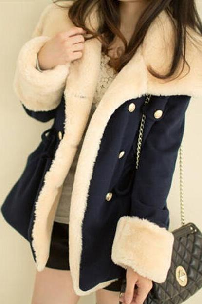 2015 Hot sale breasted wool coat winter jacket