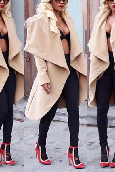 Fashion Turndown Collar Long Sleeves Khaki Long Overcoat