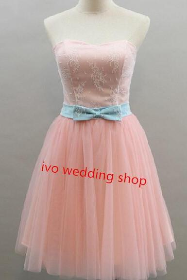 High Quality Pink Tulle Knee Lenth Prom Dress With Bow In Stock, Lovely Pink Homecoming Dress, Prom Dress 2015