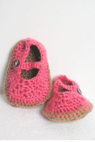 Crochet baby mary jane shoes, made to order.