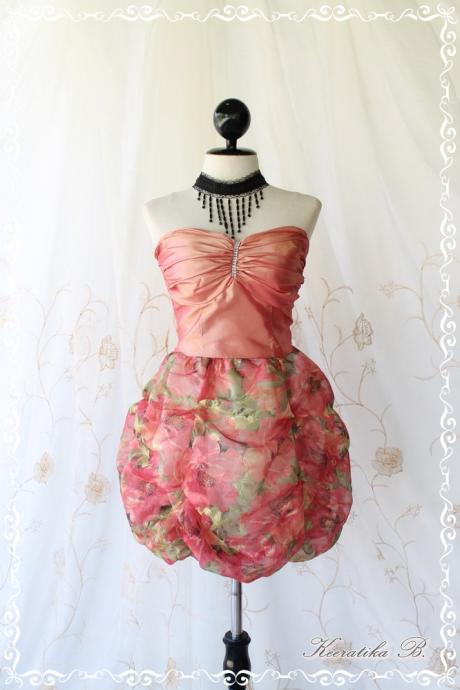 Prom Queen - Bubble Balloon Dress Glamorous Peachy Pink Tafeta With Organza Fabric Puffed Skirt