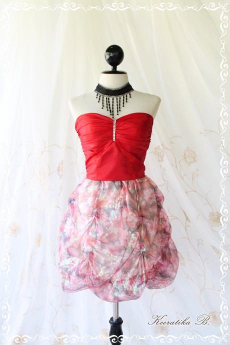 Prom Queen - Bubble Balloon Dress Glamorous Burgundy Tafeta With Organza Fabric Puffed Skirt