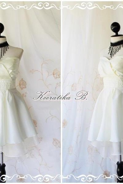 Cinderella Story Goddess Cocktail Dress Asymmetric Hem Taffeta Ivory Color Longer White Organza Lining S-M