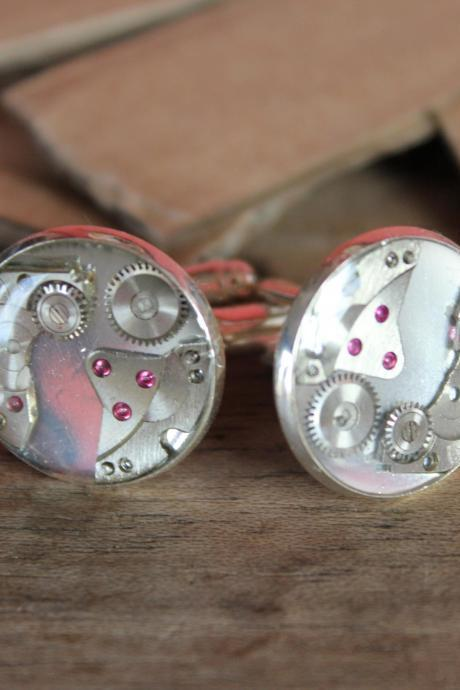 Handmade cufflinks from vintage watch parts