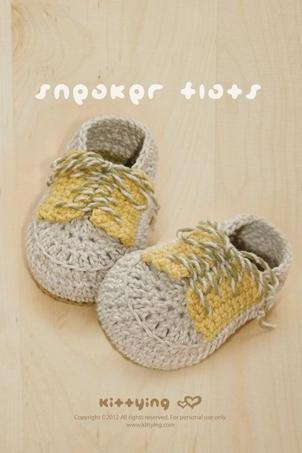 Crochet PATTERN Sneaker Flats Crochet PATTERN, Chart & Written Pattern by kittying