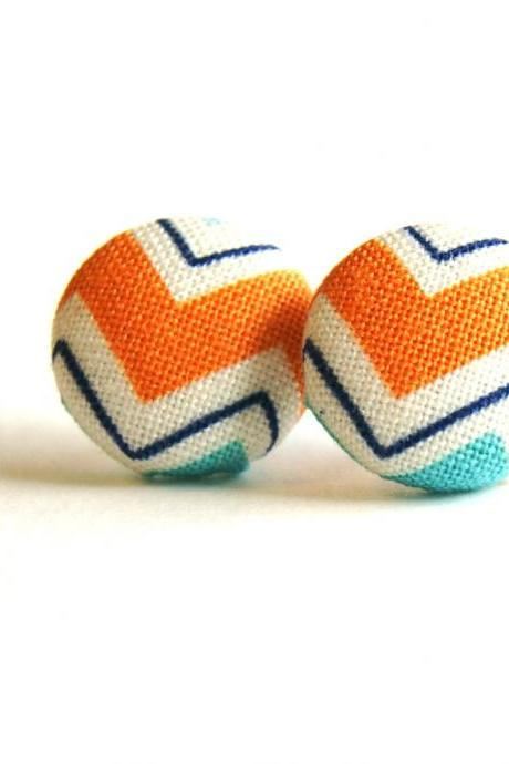 Chevron Fabric Covered Button Earrings - Orange