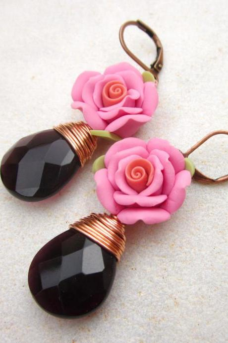 Romantic pink rose and amethyst earrings