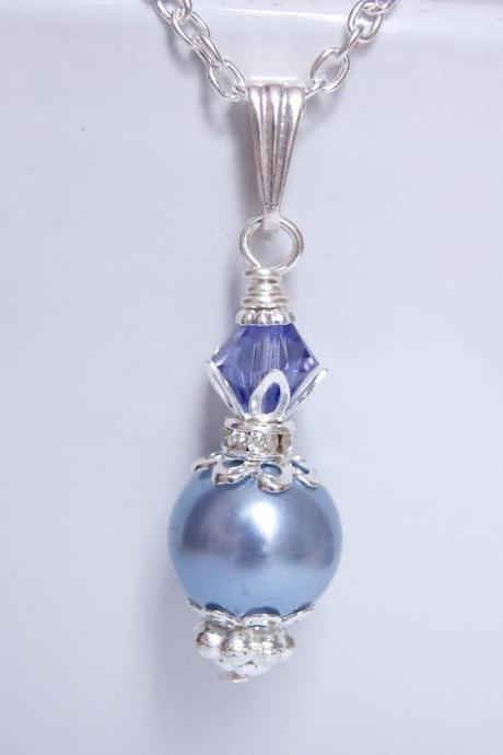 Purple Bridesmaid Jewelry - Tanzanite and Blue Vintage Pendant for Bridesmaids or Gift