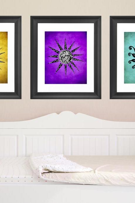 Printable Wall Art Poster DIY - Flower & Sun