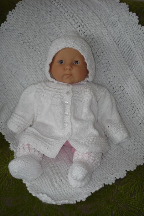 Ready to ship/ Handmade Hand Knitted 4PC New Born Baby Sweater/Cardigan-Booties-Bonnet-Blanket Crochet /For A Girl and A Boy