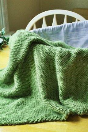 Custom Knit Baby Blanket - Handmade green cable