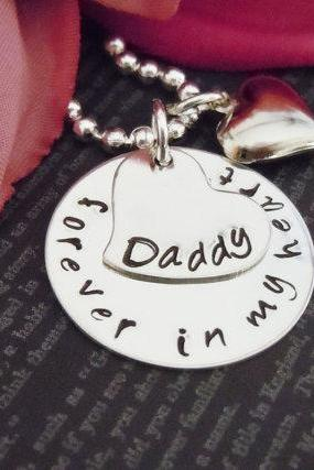 Jewelry-Hand Stamped Jewelry-Personalized Necklace-Mommy Necklace-Childrens Necklace-Hand Stamped-Forever In My Heart Daddy