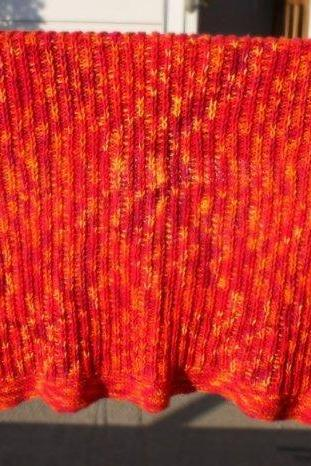 Knit orange baby blanket yellow afghan infant warm